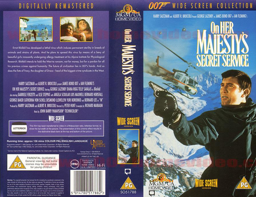 007 Home Video - Videotape - VHS/Beta - UK - Global Standardised Art - ON HER MAJESTY'S SECRET SERVICE